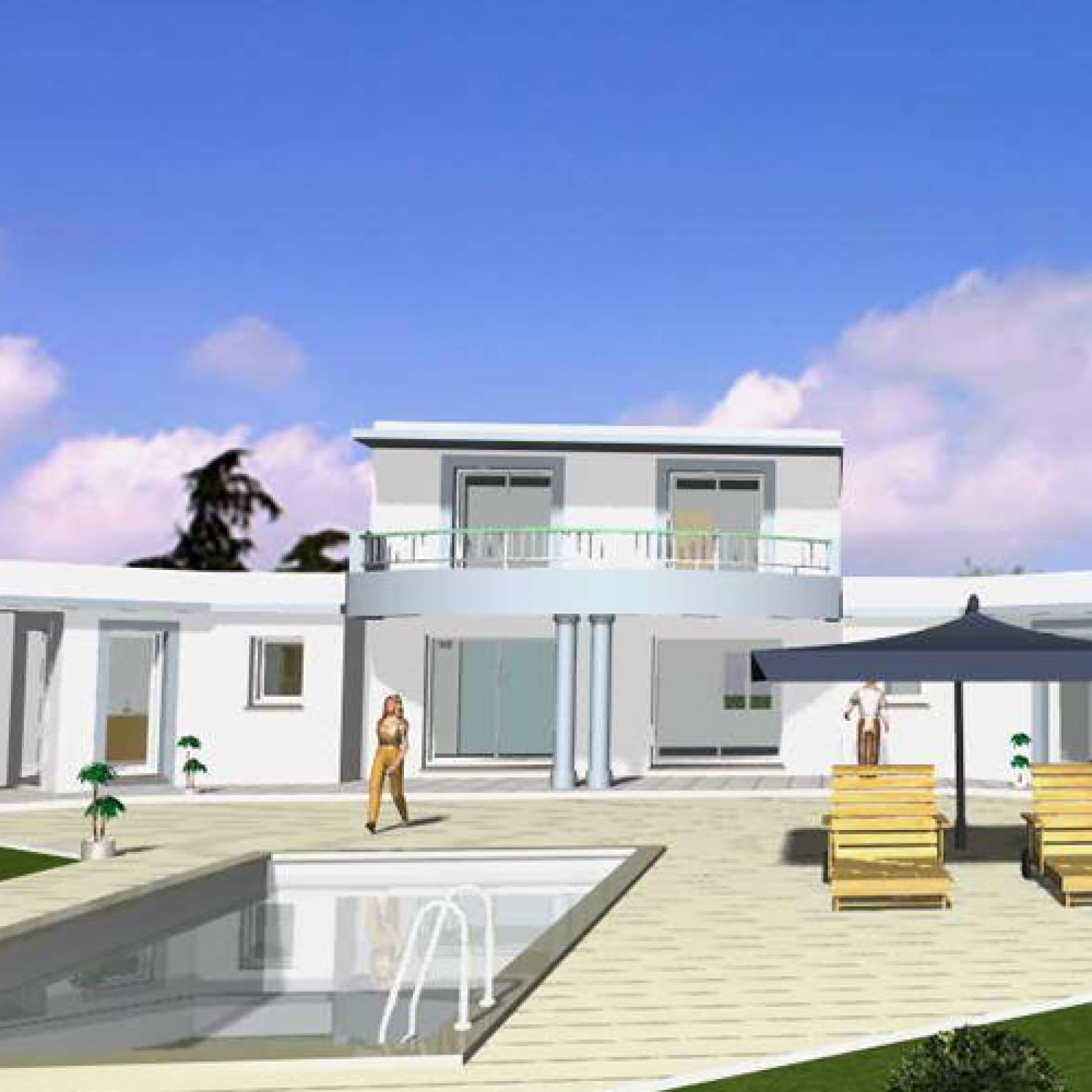 Maison contemporaine avec toiture terrasse v g talis e for Villa maison plans photos