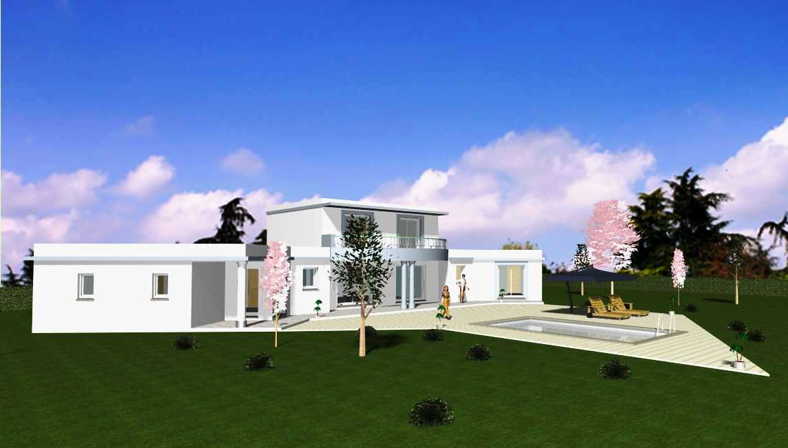 Maison contemporaine avec toiture terrasse végétalisée Provence Maison