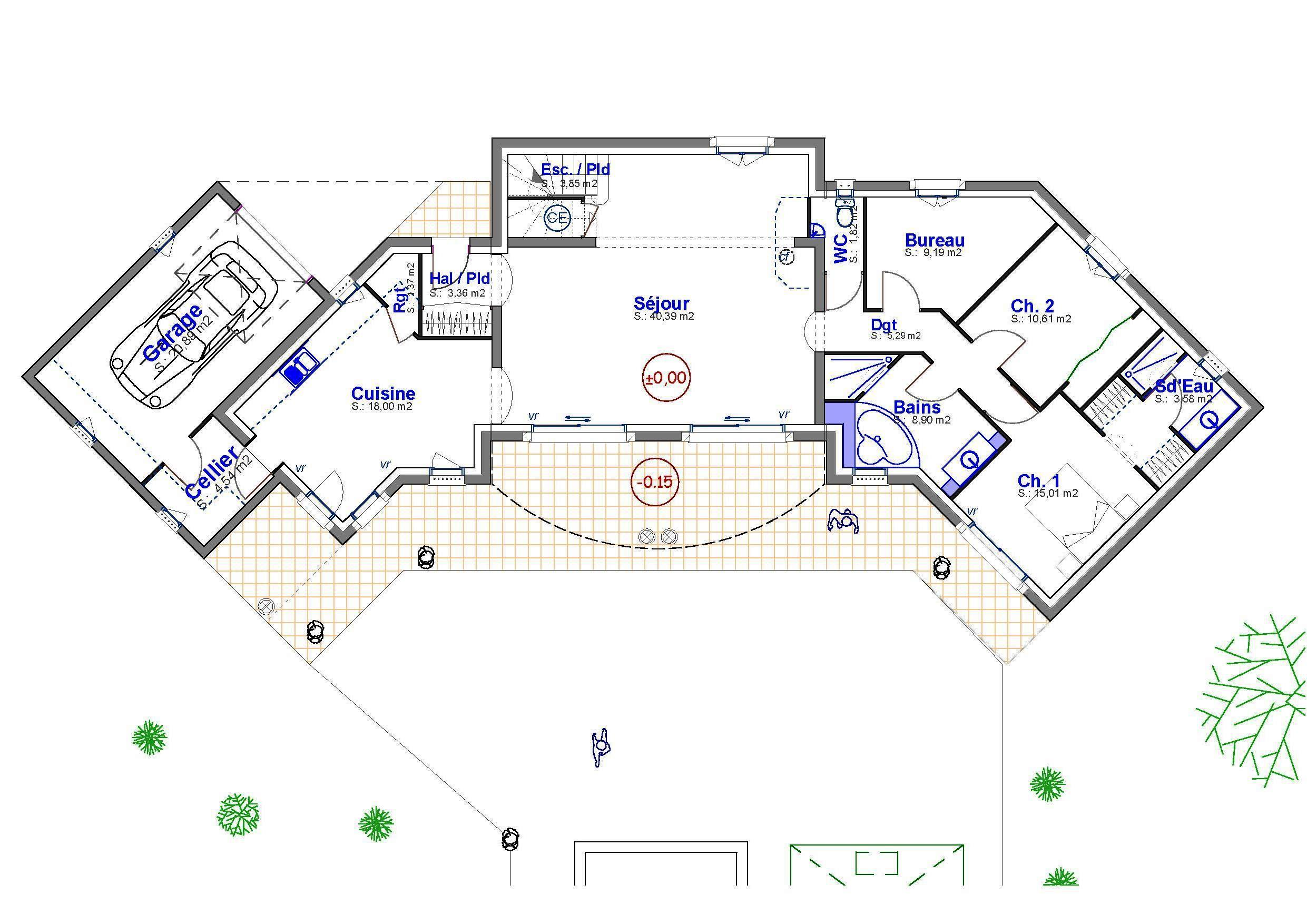 Maison contemporaine avec toiture terrasse v g talis e for Plan de villa en l