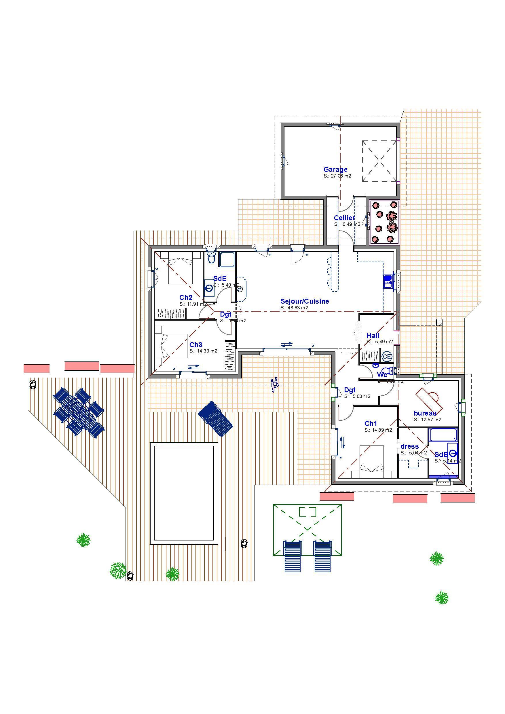 Maison contemporaine de plain pied provence maisons for Application plan construction maison