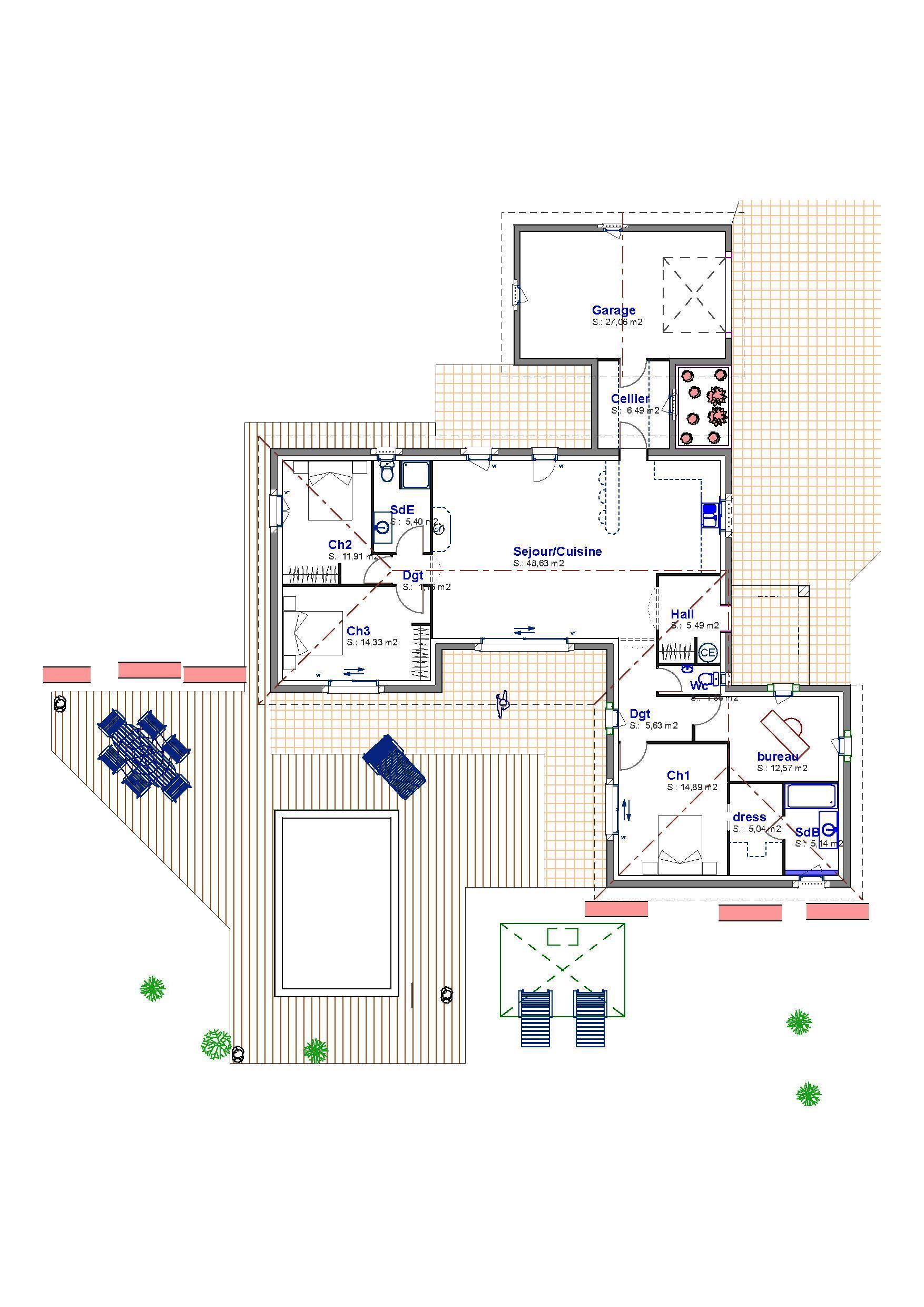 Maison Plain Pied Avec Dressing : Villa agathe plan de maison provence construction