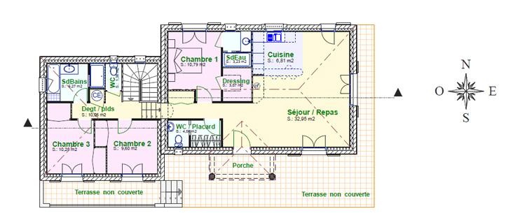 Villa ang le plan de maison provence construction de - Plan maison provencale avec etage ...