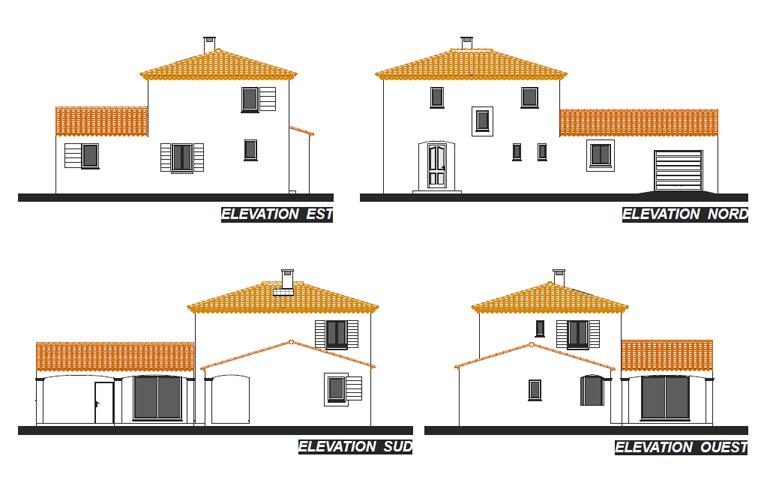 Villa aurore plan de maison provence construction de for Plan maison facade