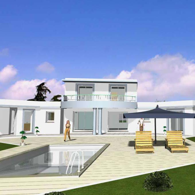 Maison plan villa moderne for Aide construction maison